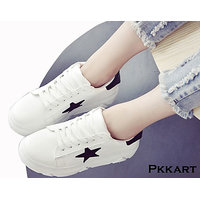 Pkkart Women's White With Black Star Sneakers With Lace