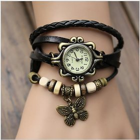 Butterfly Design Retro Black Leather Wrist Watch For Wo