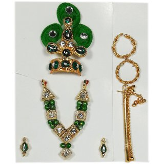 Universal Size Green Color Laddu Gopal Shringar Set (1-Laddu Gopal Mukut, 1-Krishna Basuri, 1-Necklace, 1-Earrings set,