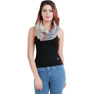 Anekaant Grey Multi Cotton Stripe Stole 50X180 cm