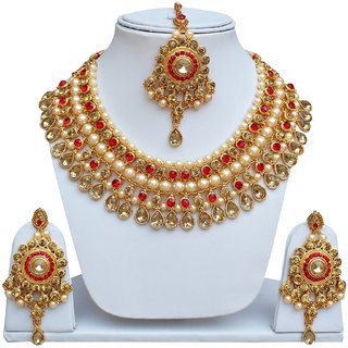 Lucky Jewellery Designer Red Color Gold Plated Pearl And Stone Necklace Set For Girls & Women