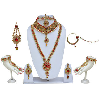 Lucky Jewellery Bridal Golden Red Color Alloy Wedding Set For Girls  Women