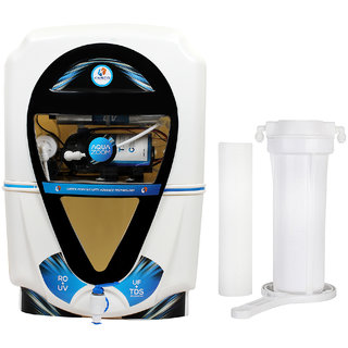 Kinsco Aqua Zoom RO+UV+UF+TDS Adjuster Water Purifier with Prefilter (White and Black)