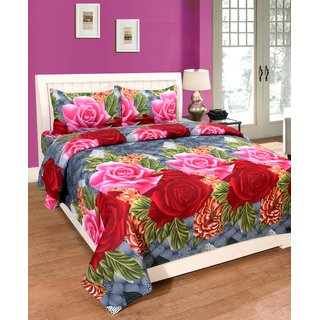 Trendz Home Furnishing Printed Polycotton Double Bedsheet With Pillow Cover