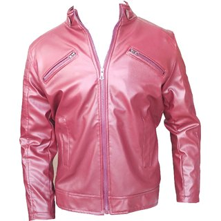 Men's PU Maroon Leather Jacket For Men