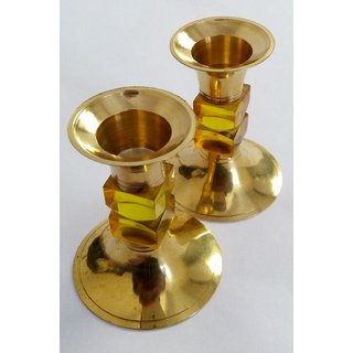 Brass Candle Stand Pair Of Two ( Pure Brass Material )