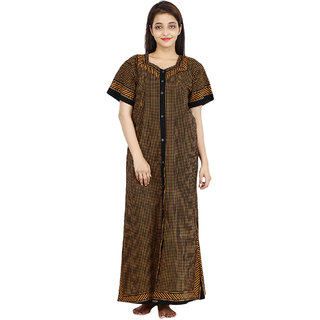 Silver Organisation Brown Printed Night Gowns & Nighty