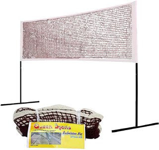 Queen Sports Badminton Net Premium quality Cotton Maroon Standard Size for Sports Training Practice and Fun