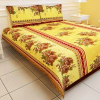 Carah Exclusive Yellow Colour  Double Bedsheet With Two Pillow Covers (CRH-DB113