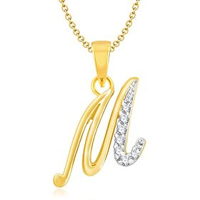 Vk Jewels Alphabet Collection Initial Pendant Letter M Gold  Rhodium Plated