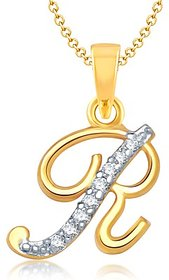 Vk Jewels Alphabet Collection Initial Pendant Letter R Gold  Rhodium Plated