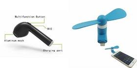Zemini Bluetooth Headset and Mobile Fan for SONY xperia c5 ultra.(HBQ I7R Bluetooth Headset | Mobile Fan, USB Fan )