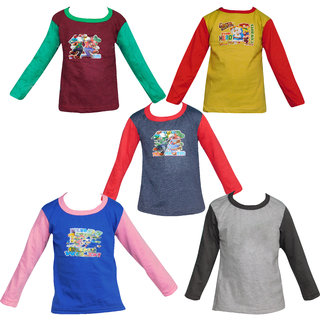 Jisha Fashion Assorted Color Cotton Full Sleeves Tshirt ( Set Of 5) (3 - 18 Months)