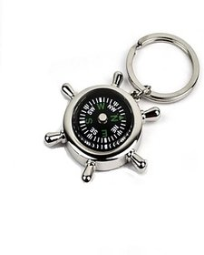Set of 2 Silver Metallic Key Chain with Compass for Car Auto Bike Cycle Home Key Ring