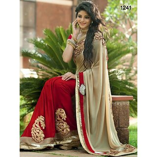 Designer Crepe And Net Sarees Red And Off White