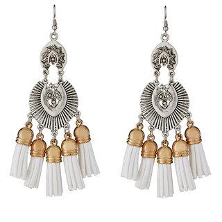 JewelMaze White Thread 2 Tone Plated Earrings