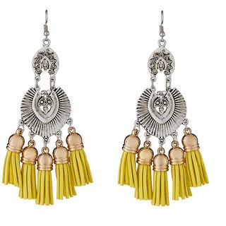 JewelMaze Yellow Thread Rhodium Plated Earrings