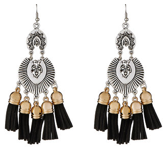JewelMaze 2 Tone Plated Black Thread Earrings