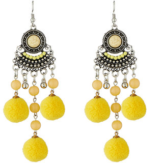 JewelMaze Yellow Thread Rhodium Plated Earrings