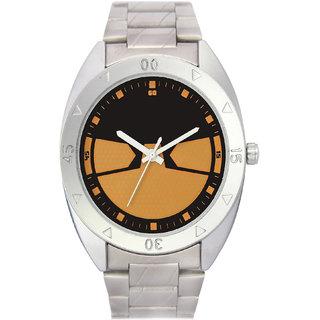 The Shopoholic Analog Black Dial White Steel Belt Watches For Boys-Men Watch Stylish