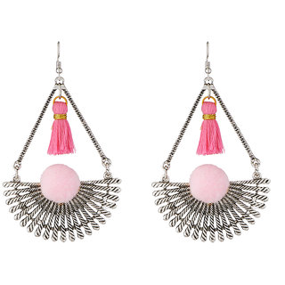 JewelMaze Rhodium Plated Pink Thread Earrings