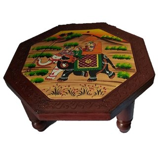 Royals Wooden Table/ Small Stool/ Chowki/ Plant Table Handmade Vintage Wooden Puja Chowki 15 INCH