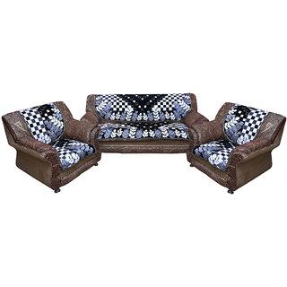 Kuber Industries Sofa Cover Heavy Velvet Cloth 5 Seater Set 10 Pieces Black