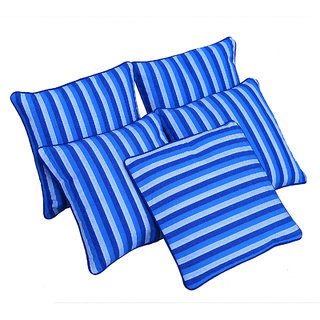 Kuber Industries Cotton Fabric Striped Blue Cushion Cover Set of 5 - 16*16 Inches