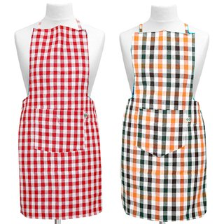 Kuber Industries Check Design Kitchen Apron With Front Pocket Set of 2 Pcs