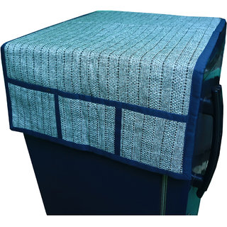 Kuber Industries Fridge Cover / Refrigerator cover in Jute Material Touch (Cotton)- Grey