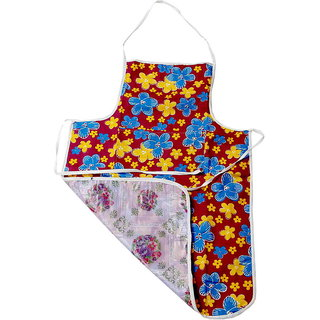 Kuber Industries Floral Design Waterproof Kitchen Apron With Front Pocket