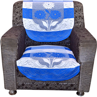 Kuber Industries Sofa Cover heavy Cloth Net 5 Seater Set -10 Pieces- Sky Blue & White (Exclusive Design)