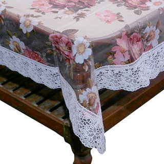 Kuber Industries Center Table Cover White Pink Flower Design Printed Transparent Sheet  40*60 Inches (White Lace)