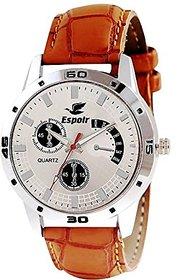 Espoir Round Dail Brown Leather Strap Quartz Watch For Men