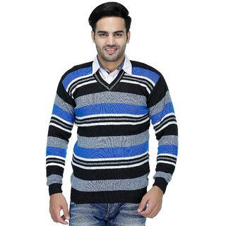 87256f6342196 Buy American Sia Striped V-neck Casual Men s Blue Sweater Online ...