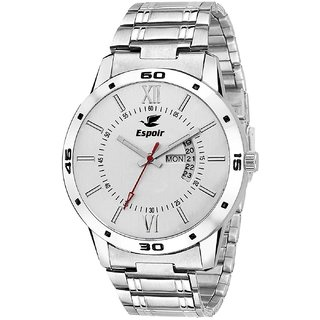 Espoir Round Dial Silver Stainless Steel Strap Analog Watch For Men's