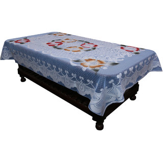 Kuber Industries Center Table Cover Sky Blue Floral Design in Cloth 40*60 Inches - KU271