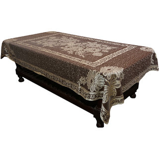 Kuber Industries Center Table Cover Brown Floral Design in Cloth 40*60 Inches - KU274