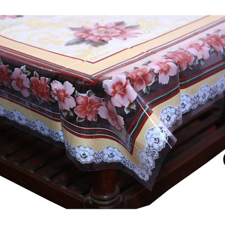 Kuber Industries Center Table Cover Flower Design Printed Transparent Sheet  40*60 Inches (Brown)