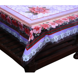 Kuber Industries Center Table Cover Flower Design Printed Transparent Sheet  40*60 Inches (Purple)
