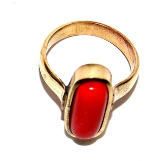 Haridwar Astro Capsule shape red coral/ lal munga astha dhatu ring