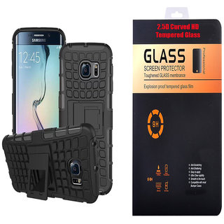 Samsung Galaxy J7 Hybrid Tough Armour Defender Back Case Cover with 9H Curved Edge HD Tempered Glass