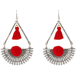 JewelMaze Rhodium Plated Maroon Thread Earrings
