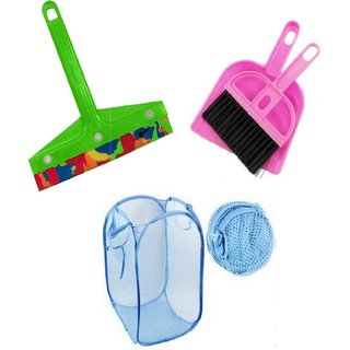 Unique Pink Plastic Combo Of Foldable Net Laundry Bag  Mini Dustpan And Mini Kitchen Wiper