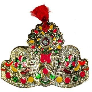 Multicolor Rose Mukut for Laddu Gopal-3.5 Inches, Krishna Mukut, Mukut for Krishna