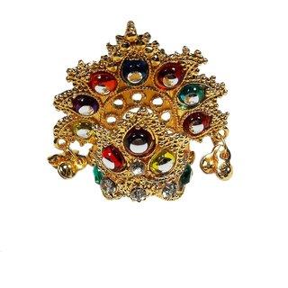 Brass Metal Heavy Quality Multicolor Laddu Gopal Stone Mukut-1.5 Inches, Krishna Mukut, Mukut for idol