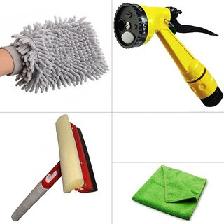 Cleaning Combo For Car (Microfiber Cloth, 3 in 1 Glass Wiper, 4 Pattern and Microfiber Gloves)