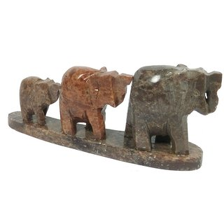 Handicraft set of 3 showpiece Marble Elephant for decoration and Gift purpose-4x2x1 Inches