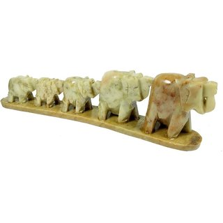 Handicraft set of 5 showpiece Marble Elephant for decoration and Gift purpose-7.5x2x1 Inches