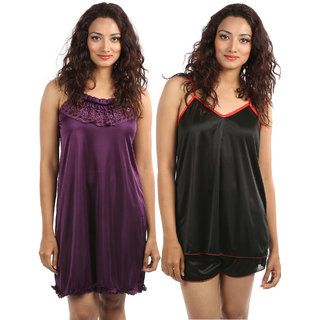 Klamotten Night Wear Purple And Black Kn111